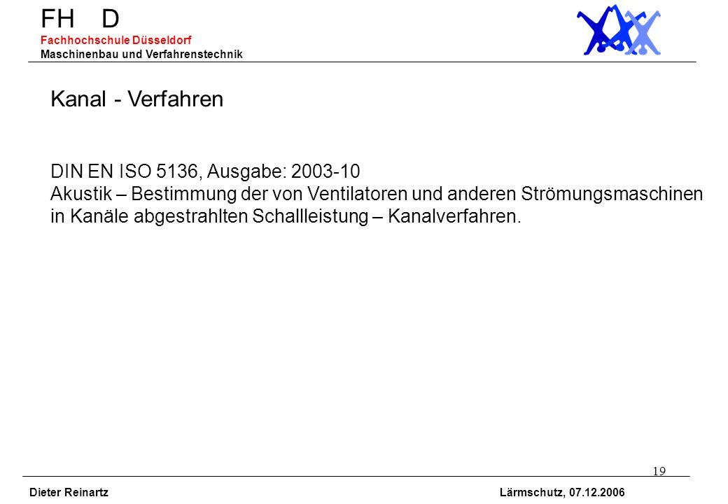 19 FH D Fachhochschule Düsseldorf Maschinenbau und Verfahrenstechnik Dieter Reinartz Lärmschutz, 07.12.2006 Kanal - Verfahren DIN EN ISO 5136, Ausgabe