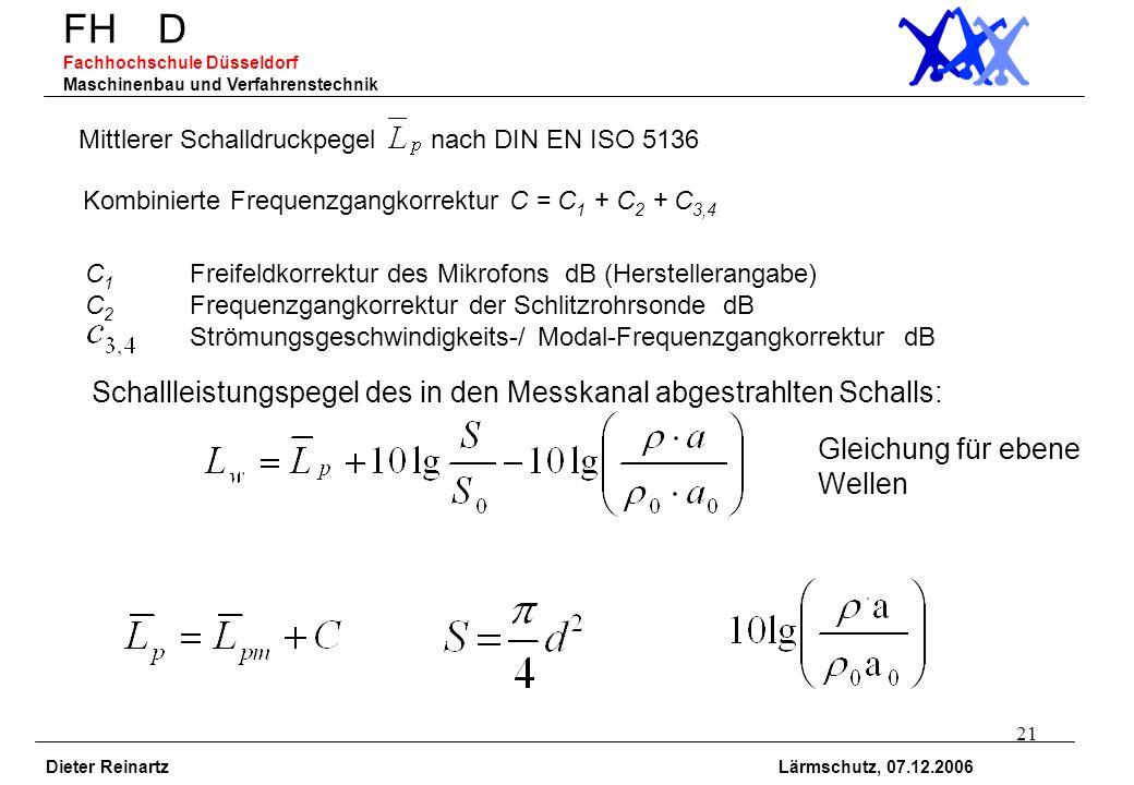 21 FH D Fachhochschule Düsseldorf Maschinenbau und Verfahrenstechnik Dieter Reinartz Lärmschutz, 07.12.2006 Mittlerer Schalldruckpegel nach DIN EN ISO