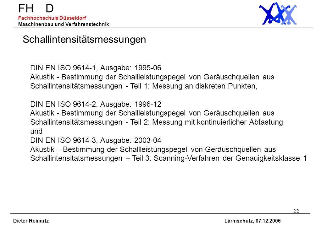 22 FH D Fachhochschule Düsseldorf Maschinenbau und Verfahrenstechnik Dieter Reinartz Lärmschutz, 07.12.2006 Schallintensitätsmessungen DIN EN ISO 9614