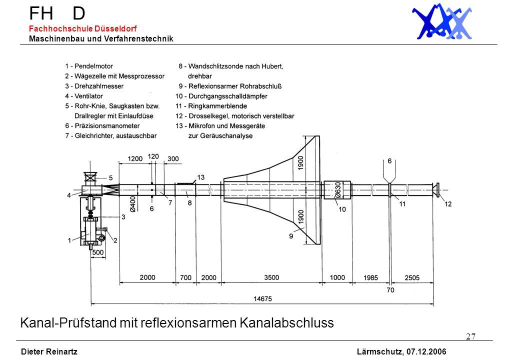 27 FH D Fachhochschule Düsseldorf Maschinenbau und Verfahrenstechnik Dieter Reinartz Lärmschutz, 07.12.2006 Kanal-Prüfstand mit reflexionsarmen Kanala