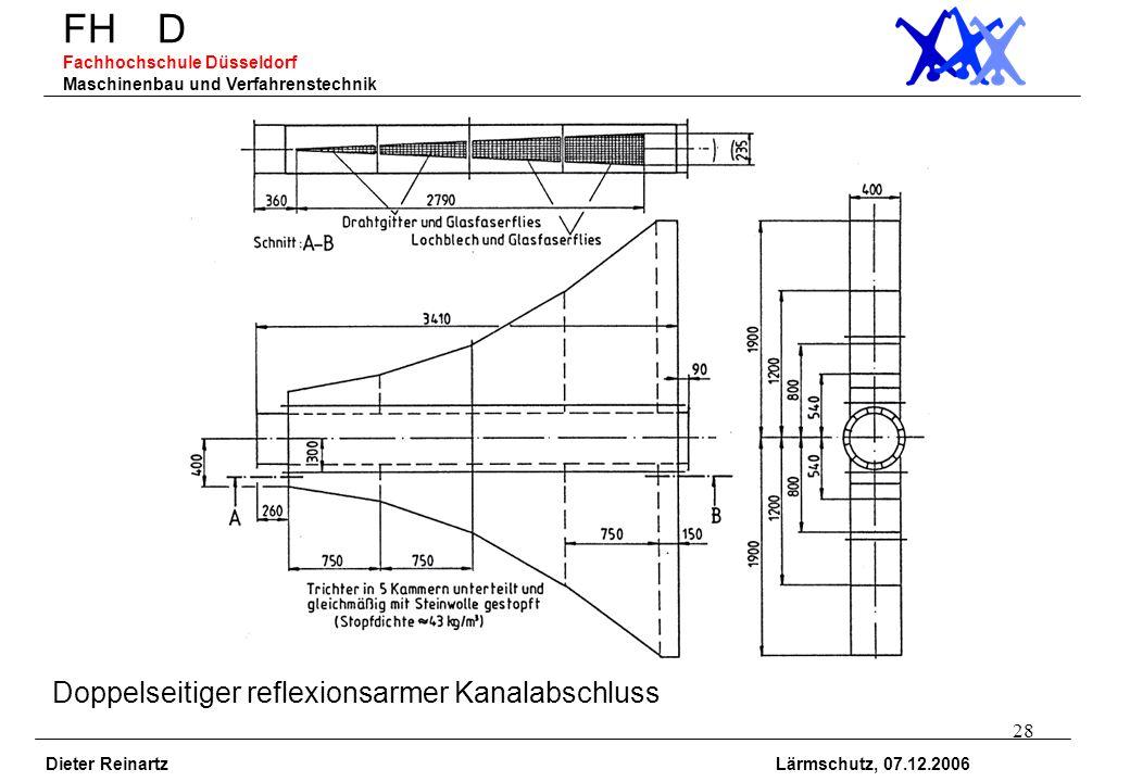 28 FH D Fachhochschule Düsseldorf Maschinenbau und Verfahrenstechnik Dieter Reinartz Lärmschutz, 07.12.2006 Doppelseitiger reflexionsarmer Kanalabschl
