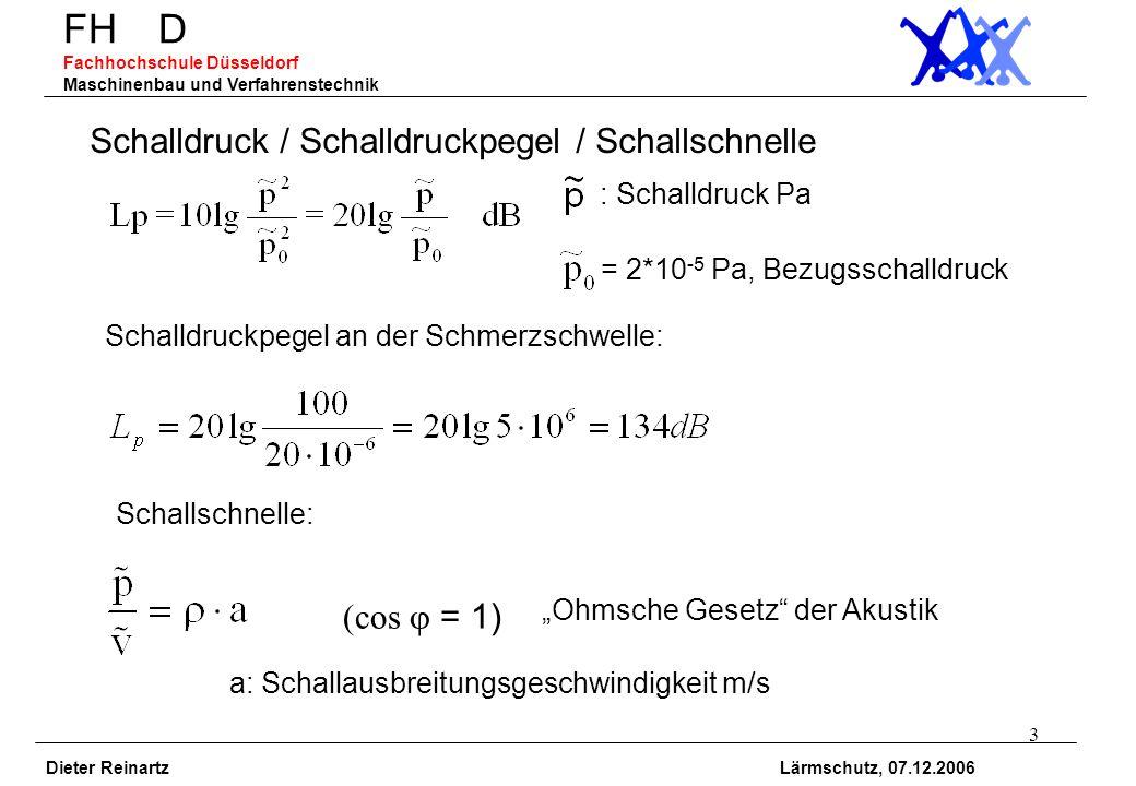 4 FH D Fachhochschule Düsseldorf Maschinenbau und Verfahrenstechnik Dieter Reinartz Lärmschutz, 07.12.2006 Schallleistung / Schallleistungspegel Schallleistung W: entfernungs- und raumunabhängig Schallleistungspegel: W: Schallleistung W W 0 = 1*10 -12 W = 1 pW, Bezugsschallleistung Schallleistung W = 1 W: