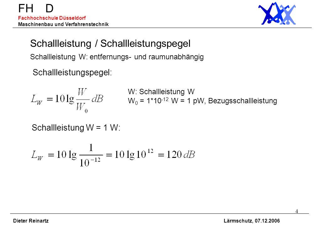 5 FH D Fachhochschule Düsseldorf Maschinenbau und Verfahrenstechnik Dieter Reinartz Lärmschutz, 07.12.2006 Schallintensität / Schallintensitätspegel W/m 2 I 0 =1pW/m 2, Bezugsschallintensität