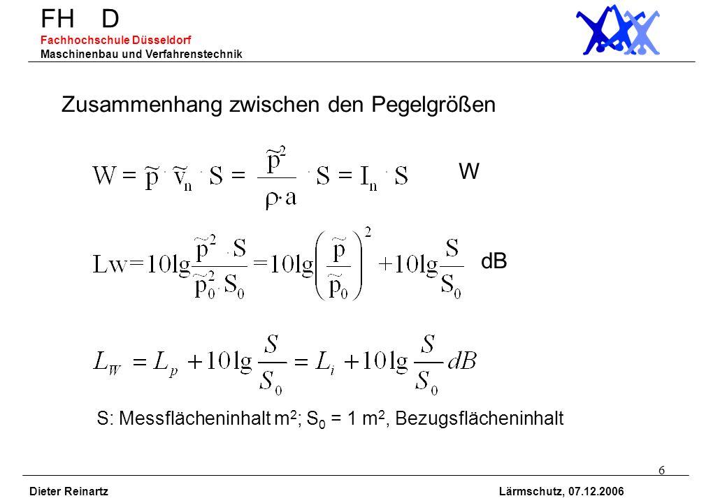 6 FH D Fachhochschule Düsseldorf Maschinenbau und Verfahrenstechnik Dieter Reinartz Lärmschutz, 07.12.2006 Zusammenhang zwischen den Pegelgrößen W dB