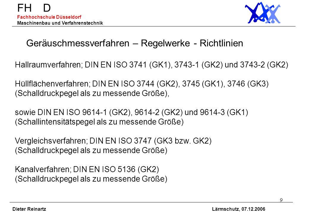 9 FH D Fachhochschule Düsseldorf Maschinenbau und Verfahrenstechnik Dieter Reinartz Lärmschutz, 07.12.2006 Geräuschmessverfahren – Regelwerke - Richtl