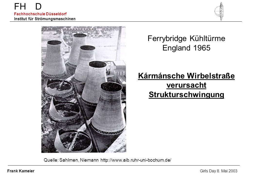 FH D Fachhochschule Düsseldorf Institut für Strömungsmaschinen Ferrybridge Kühltürme England 1965 Kármánsche Wirbelstraße verursacht Strukturschwingun