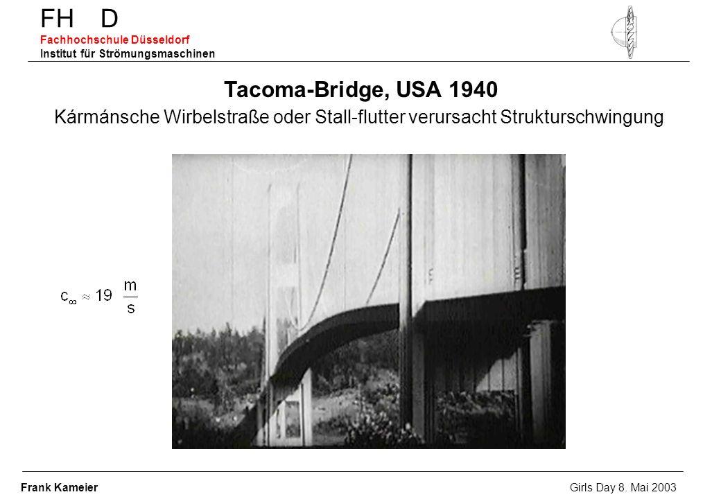 FH D Fachhochschule Düsseldorf Institut für Strömungsmaschinen Tacoma-Bridge, USA 1940 Kármánsche Wirbelstraße oder Stall-flutter verursacht Strukturs