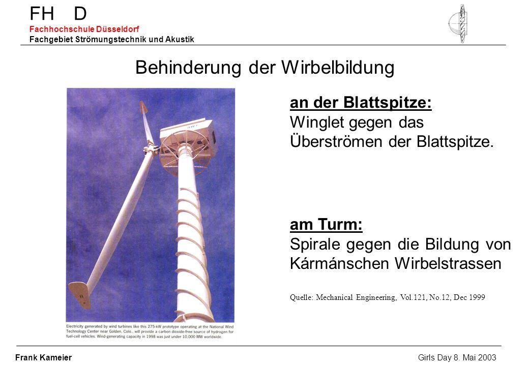 Behinderung der Wirbelbildung an der Blattspitze: Winglet gegen das Überströmen der Blattspitze. am Turm: Spirale gegen die Bildung von Kármánschen Wi