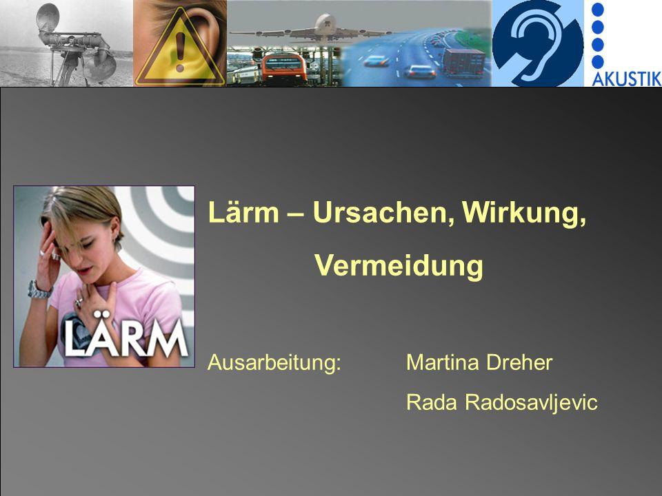 Lärm – Ursachen, Wirkung, Vermeidung Ausarbeitung:Martina Dreher Rada Radosavljevic