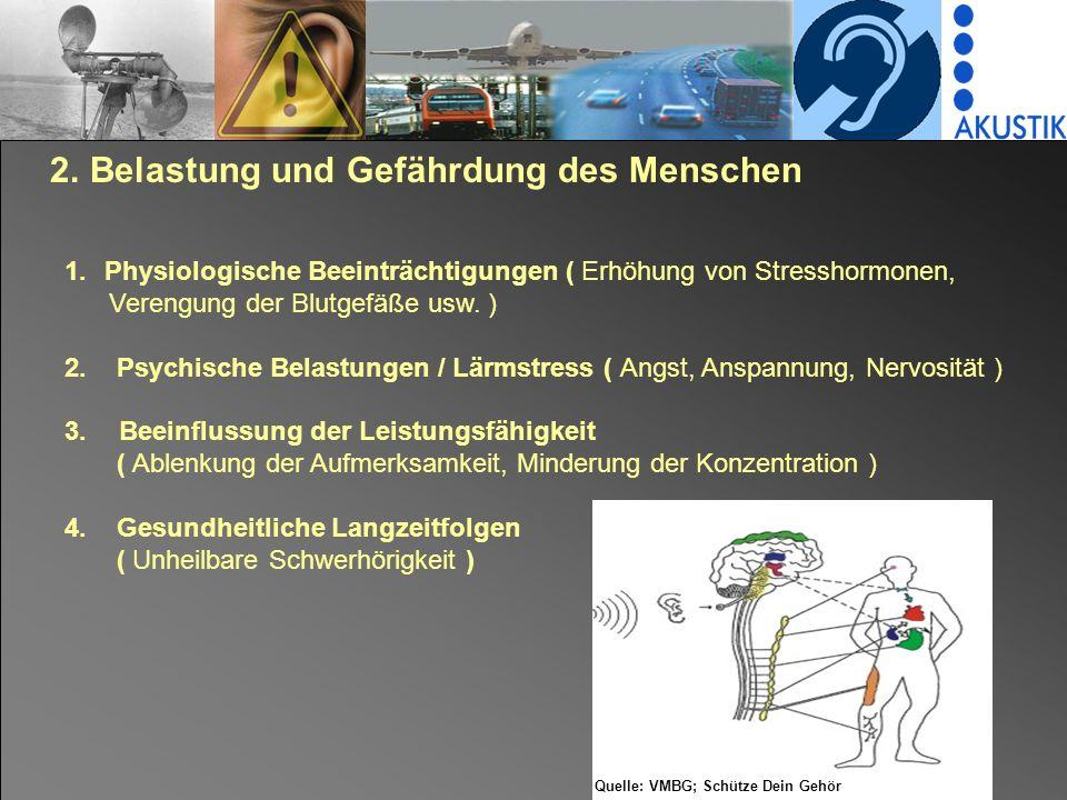 2. Belastung und Gefährdung des Menschen 1.Physiologische Beeinträchtigungen ( Erhöhung von Stresshormonen, Verengung der Blutgefäße usw. ) 2. Psychis