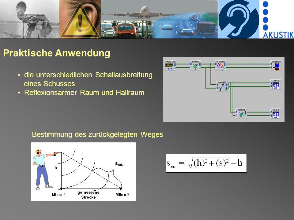 Ergebnisse horizontale Schallausbreitung erfolgt schneller als theoretische und vertikale vertikale erfolgt langsamer, da im reflexionsarmen Raum die Schallwellen zum Teil von der Decke absorbiert werden und im Hallraum die Schallwellen sich beim Ausbreiten überlagern c = s/t