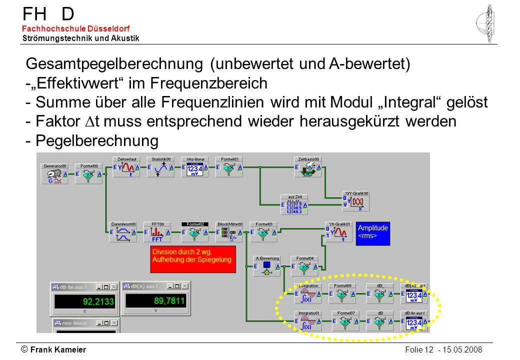 © Frank Kameier Folie 12 - 15.05.2008 FHD Fachhochschule Düsseldorf Strömungstechnik und Akustik Gesamtpegelberechnung (unbewertet und A-bewertet) -Ef