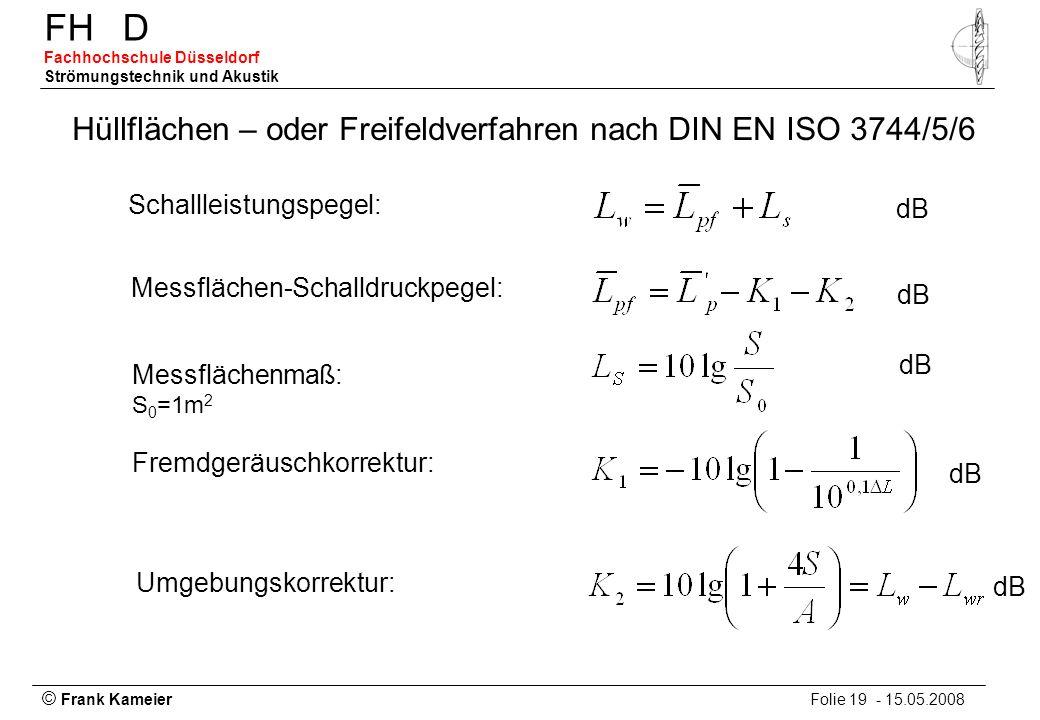 © Frank Kameier Folie 19 - 15.05.2008 FHD Fachhochschule Düsseldorf Strömungstechnik und Akustik Hüllflächen – oder Freifeldverfahren nach DIN EN ISO