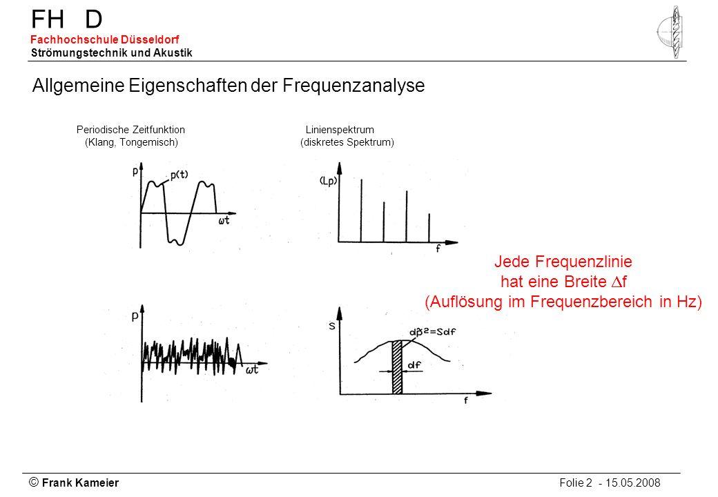 © Frank Kameier Folie 2 - 15.05.2008 FHD Fachhochschule Düsseldorf Strömungstechnik und Akustik Allgemeine Eigenschaften der Frequenzanalyse Periodisc