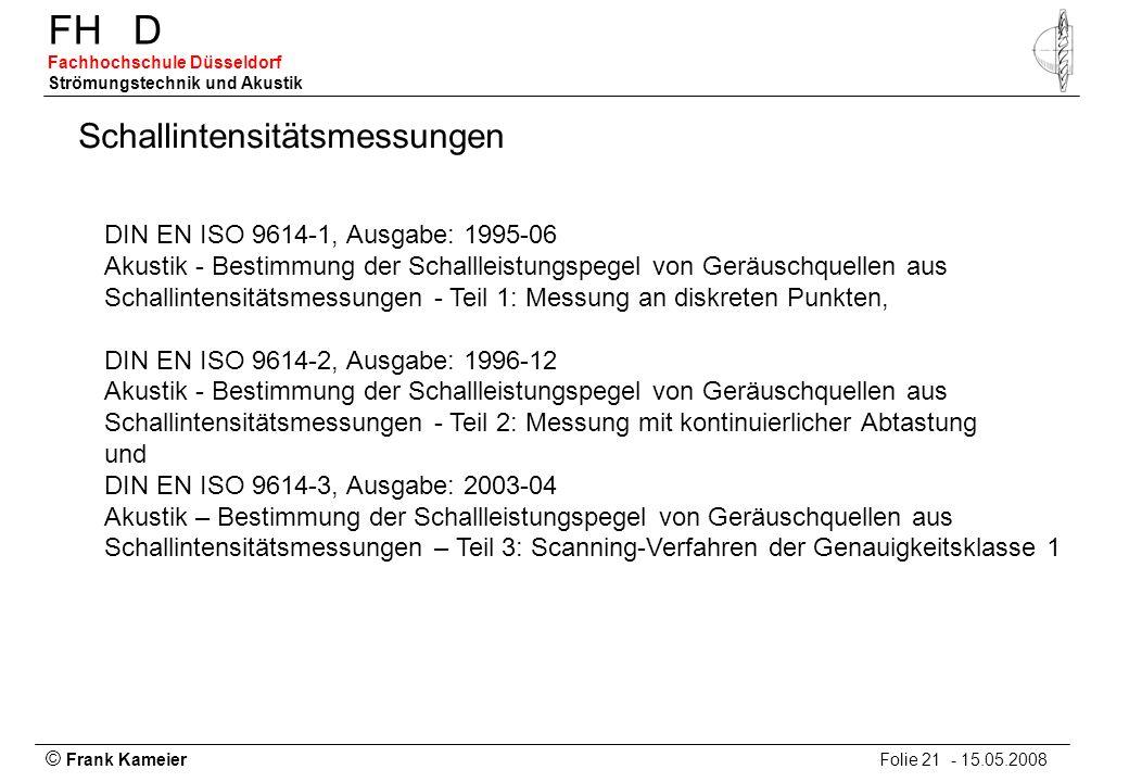 © Frank Kameier Folie 21 - 15.05.2008 FHD Fachhochschule Düsseldorf Strömungstechnik und Akustik Schallintensitätsmessungen DIN EN ISO 9614-1, Ausgabe