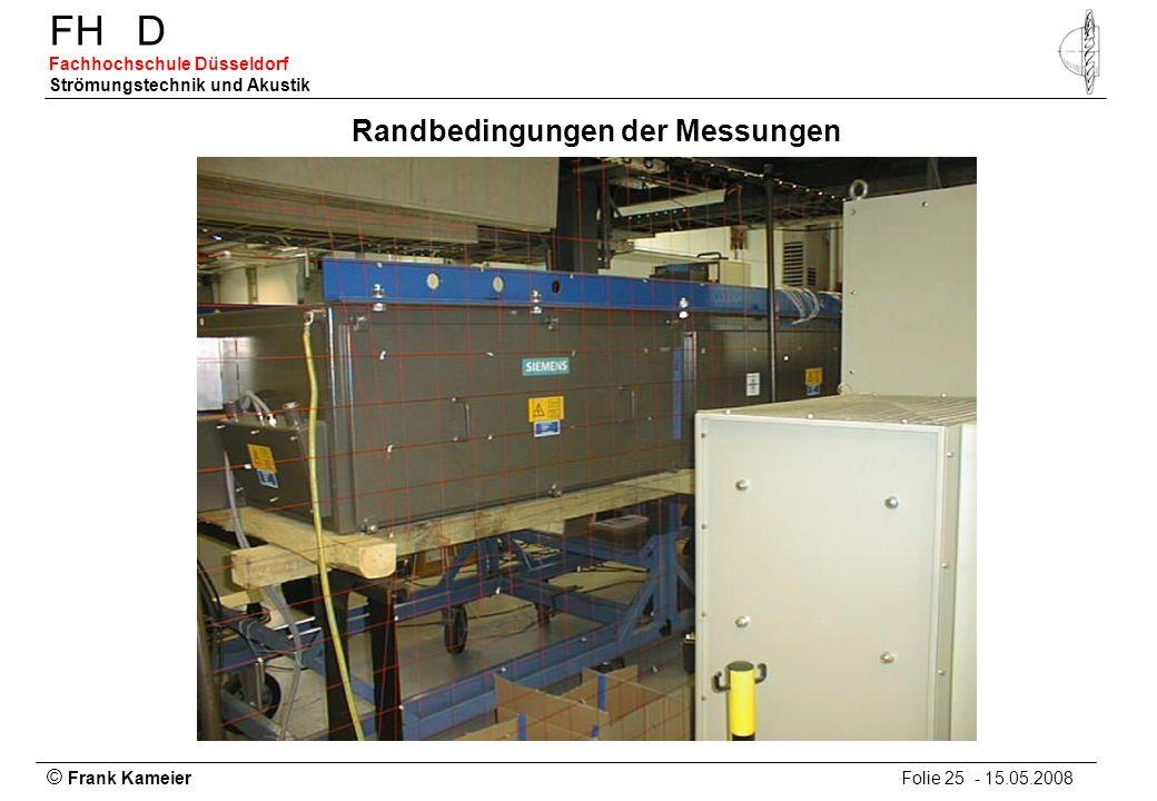 © Frank Kameier Folie 25 - 15.05.2008 FHD Fachhochschule Düsseldorf Strömungstechnik und Akustik Randbedingungen der Messungen