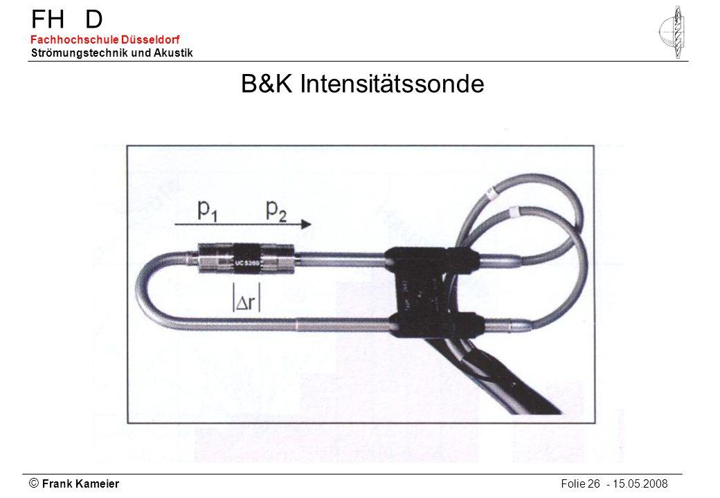 © Frank Kameier Folie 26 - 15.05.2008 FHD Fachhochschule Düsseldorf Strömungstechnik und Akustik B&K Intensitätssonde