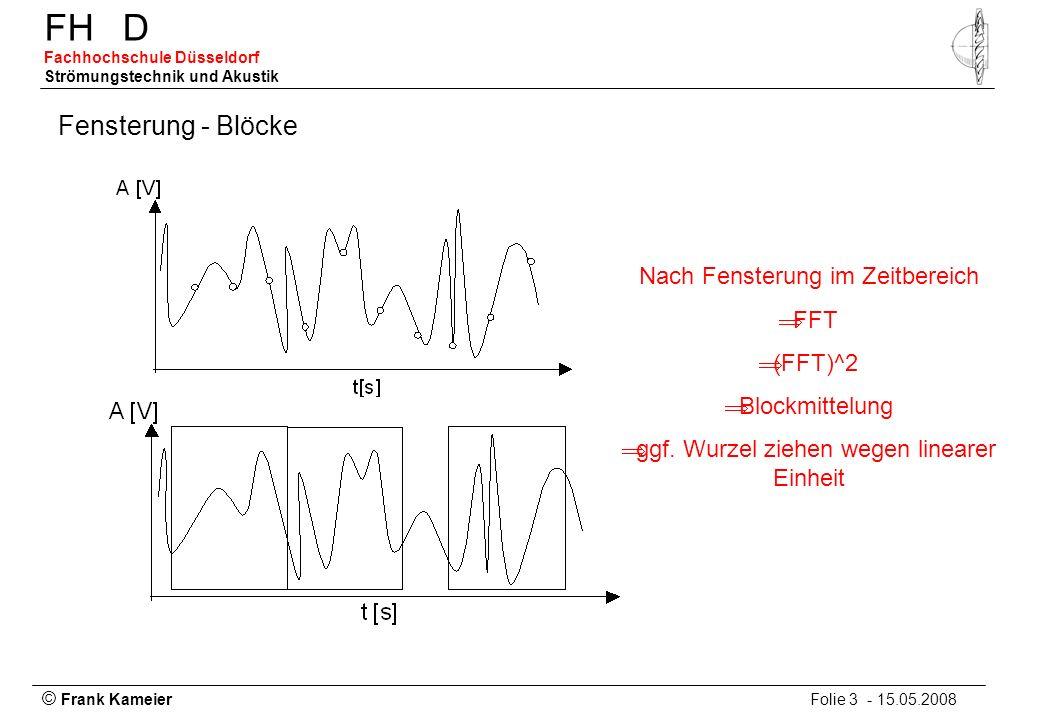 © Frank Kameier Folie 3 - 15.05.2008 FHD Fachhochschule Düsseldorf Strömungstechnik und Akustik Fensterung - Blöcke Nach Fensterung im Zeitbereich FFT