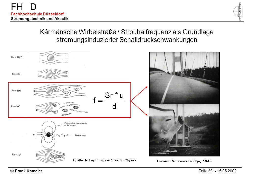 © Frank Kameier Folie 39 - 15.05.2008 FHD Fachhochschule Düsseldorf Strömungstechnik und Akustik Kármánsche Wirbelstraße / Strouhalfrequenz als Grundl