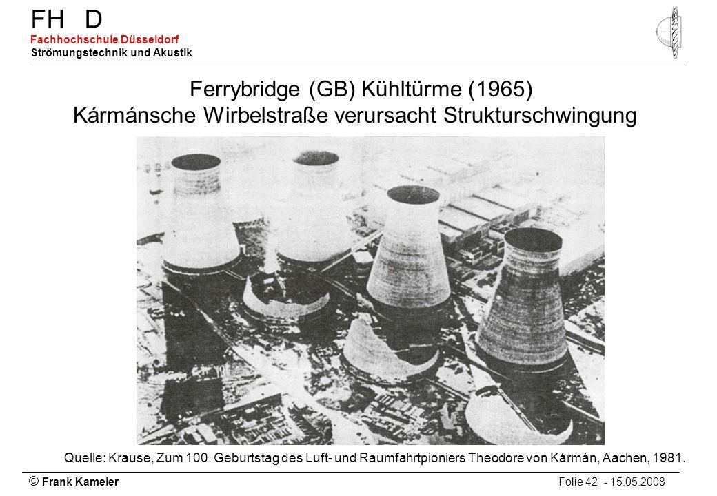© Frank Kameier Folie 42 - 15.05.2008 FHD Fachhochschule Düsseldorf Strömungstechnik und Akustik Ferrybridge (GB) Kühltürme (1965) Kármánsche Wirbelst