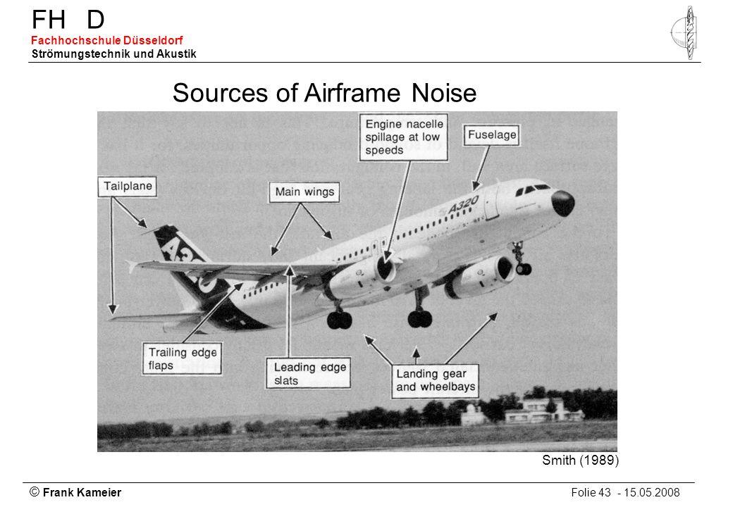 © Frank Kameier Folie 43 - 15.05.2008 FHD Fachhochschule Düsseldorf Strömungstechnik und Akustik Sources of Airframe Noise Smith (1989)