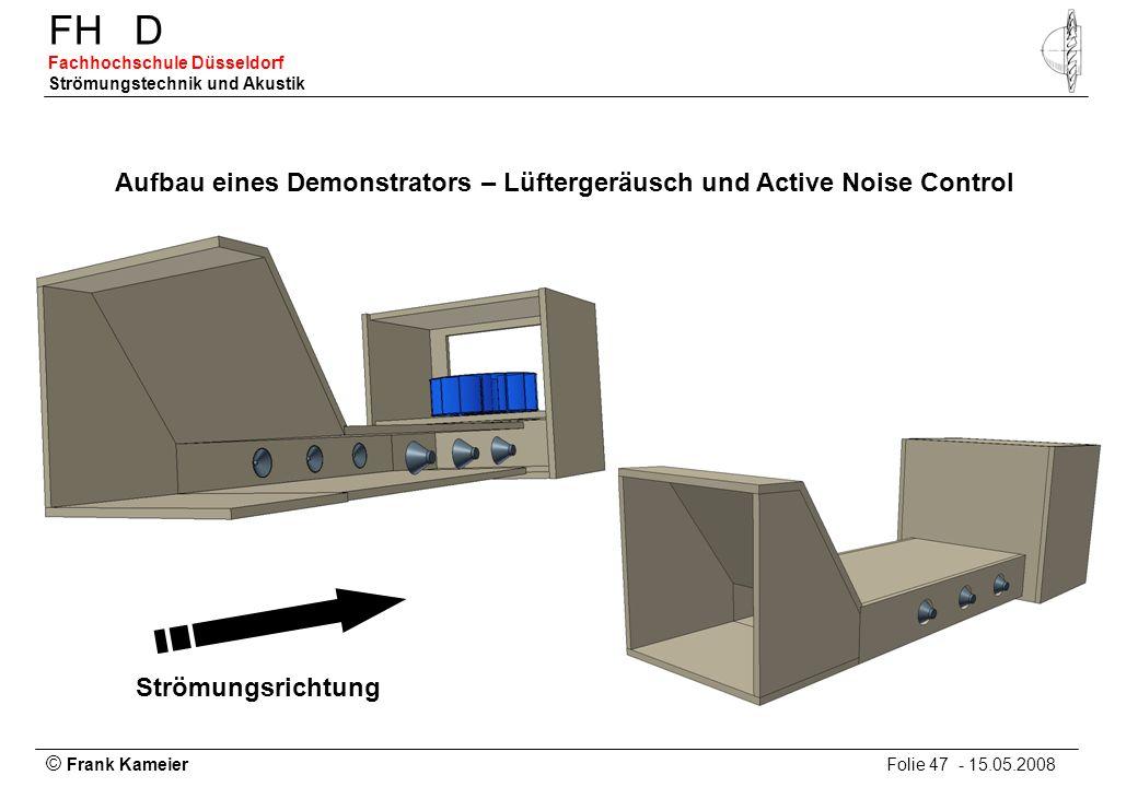 © Frank Kameier Folie 47 - 15.05.2008 FHD Fachhochschule Düsseldorf Strömungstechnik und Akustik Aufbau eines Demonstrators – Lüftergeräusch und Activ