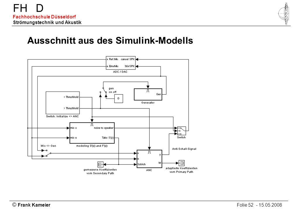 © Frank Kameier Folie 52 - 15.05.2008 FHD Fachhochschule Düsseldorf Strömungstechnik und Akustik Ausschnitt aus des Simulink-Modells