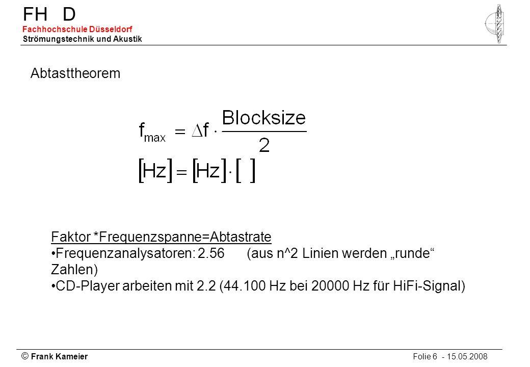© Frank Kameier Folie 6 - 15.05.2008 FHD Fachhochschule Düsseldorf Strömungstechnik und Akustik Abtasttheorem Faktor *Frequenzspanne=Abtastrate Freque