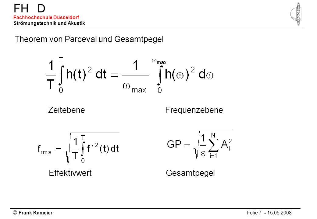 © Frank Kameier Folie 7 - 15.05.2008 FHD Fachhochschule Düsseldorf Strömungstechnik und Akustik Theorem von Parceval und Gesamtpegel ZeitebeneFrequenz
