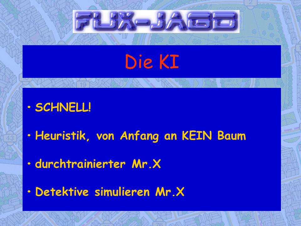 Die KI SCHNELL!Heuristik, von Anfang an KEIN Baumdurchtrainierter Mr.XDetektive simulieren Mr.X
