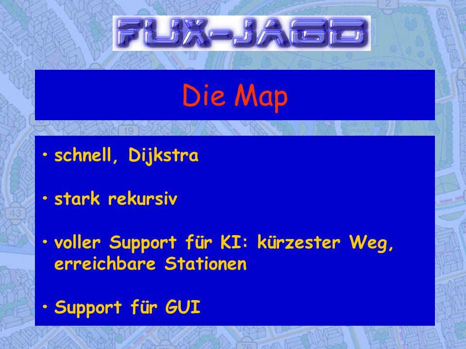 Die Map schnell, Dijkstrastark rekursivvoller Support für KI: kürzester Weg, erreichbare StationenSupport für GUI