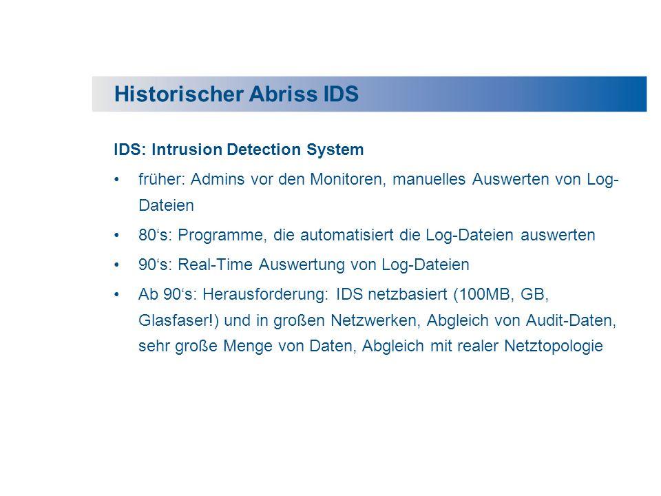 Historischer Abriss IDS IDS: Intrusion Detection System früher: Admins vor den Monitoren, manuelles Auswerten von Log- Dateien 80s: Programme, die aut