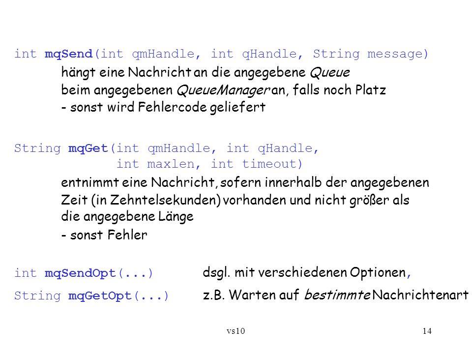 vs1014 int mqSend(int qmHandle, int qHandle, String message) hängt eine Nachricht an die angegebene Queue beim angegebenen QueueManager an, falls noch