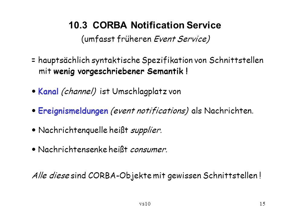 vs1015 10.3 CORBA Notification Service (umfasst früheren Event Service) = hauptsächlich syntaktische Spezifikation von Schnittstellen mit wenig vorges