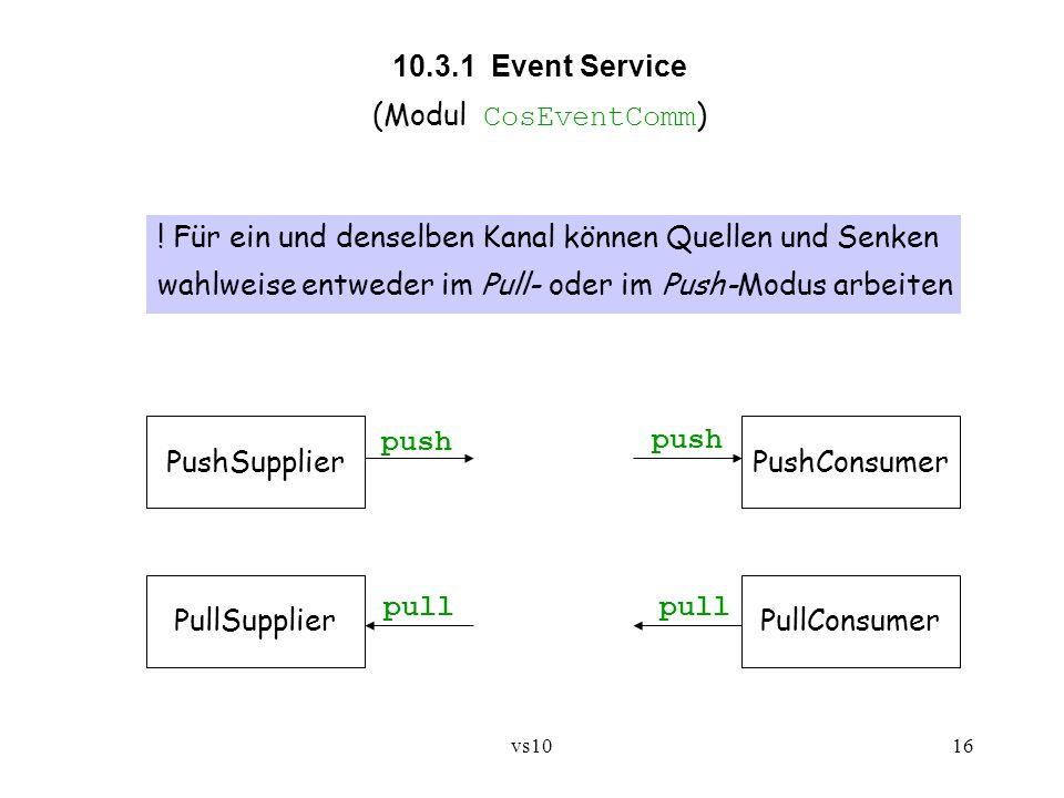 vs1016 10.3.1 Event Service (Modul CosEventComm ) ! Für ein und denselben Kanal können Quellen und Senken wahlweise entweder im Pull- oder im Push-Mod