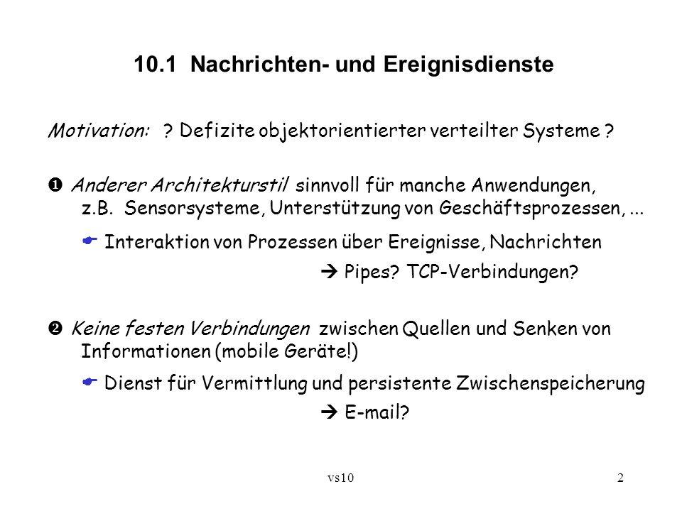 vs102 10.1 Nachrichten- und Ereignisdienste Motivation: ? Defizite objektorientierter verteilter Systeme ? Anderer Architekturstil sinnvoll für manche