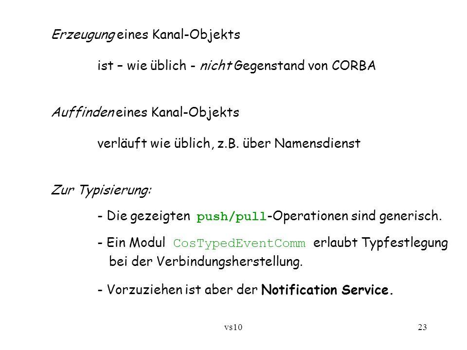 vs1023 Erzeugung eines Kanal-Objekts ist – wie üblich - nicht Gegenstand von CORBA Auffinden eines Kanal-Objekts verläuft wie üblich, z.B. über Namens