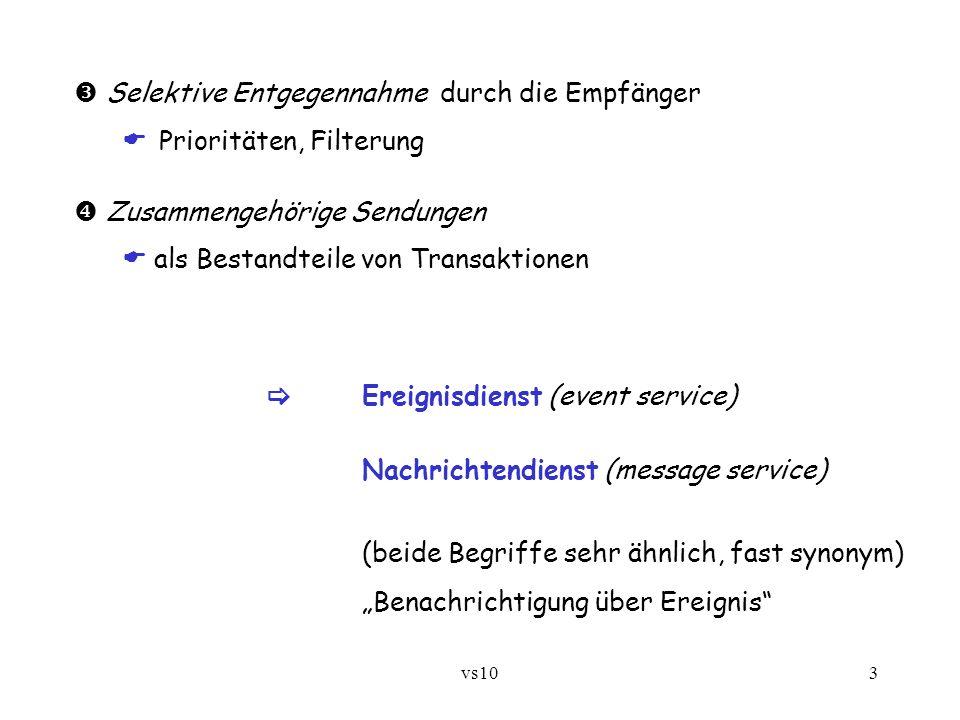 vs1014 int mqSend(int qmHandle, int qHandle, String message) hängt eine Nachricht an die angegebene Queue beim angegebenen QueueManager an, falls noch Platz - sonst wird Fehlercode geliefert String mqGet(int qmHandle, int qHandle, int maxlen, int timeout) entnimmt eine Nachricht, sofern innerhalb der angegebenen Zeit (in Zehntelsekunden) vorhanden und nicht größer als die angegebene Länge - sonst Fehler int mqSendOpt(...) dsgl.