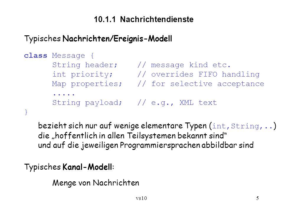 vs106 Schnittstelle eines Kanals: ínterface Channel { void put(Message msg); // erweitert die Nachrichtenmenge um msg Message get(); // entnimmt der Nachrichtenmenge eine Nachricht // - sobald vorhanden Message get(String filter); // entnimmt der Nachrichtenmenge eine Nachricht, // deren properties der Bedingung filter genügen // - sobald vorhanden } Beispiel für eine Bedingung: temperature > 80 Typische Filtersprache: Teilsprache von SQL