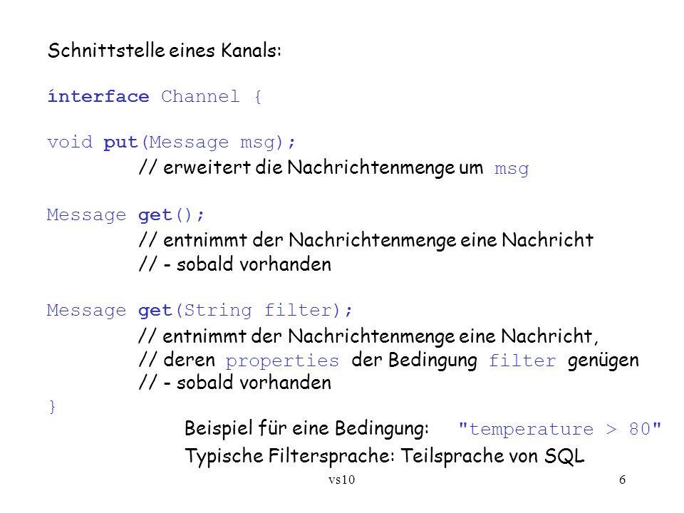vs106 Schnittstelle eines Kanals: ínterface Channel { void put(Message msg); // erweitert die Nachrichtenmenge um msg Message get(); // entnimmt der N