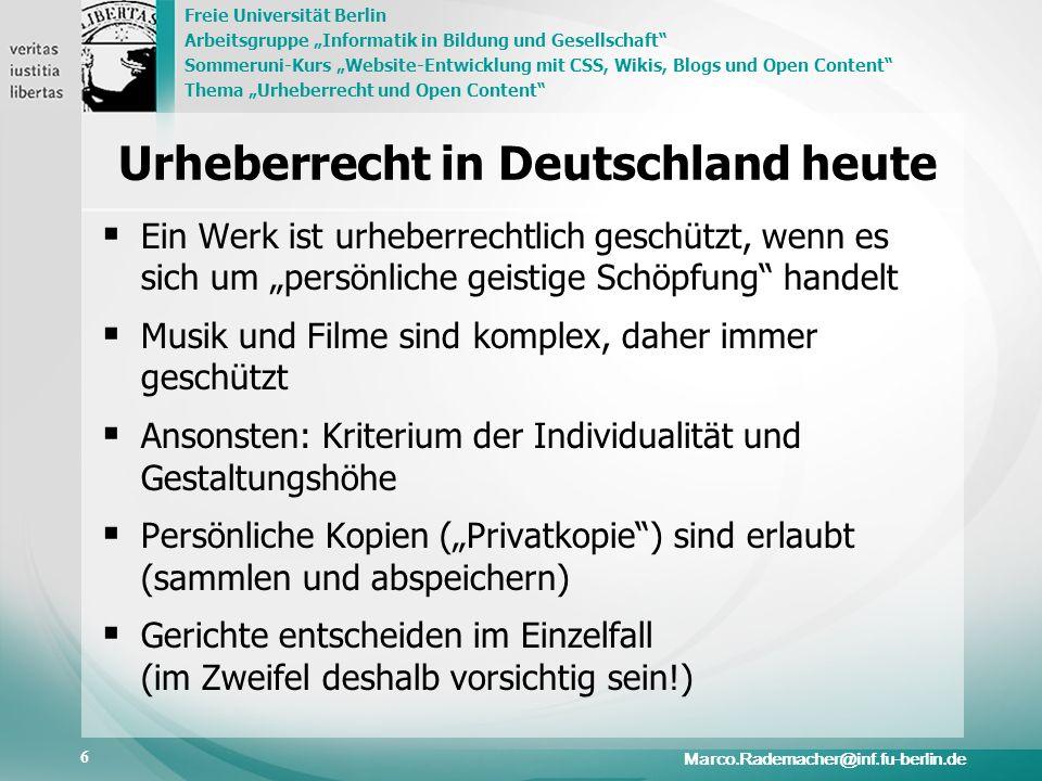 Freie Universität Berlin Arbeitsgruppe Informatik in Bildung und Gesellschaft Sommeruni-Kurs Website-Entwicklung mit CSS, Wikis, Blogs und Open Conten