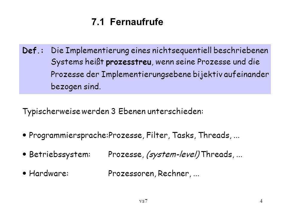 vs74 7.1 Fernaufrufe Def.:Die Implementierung eines nichtsequentiell beschriebenen Systems heißt prozesstreu, wenn seine Prozesse und die Prozesse der