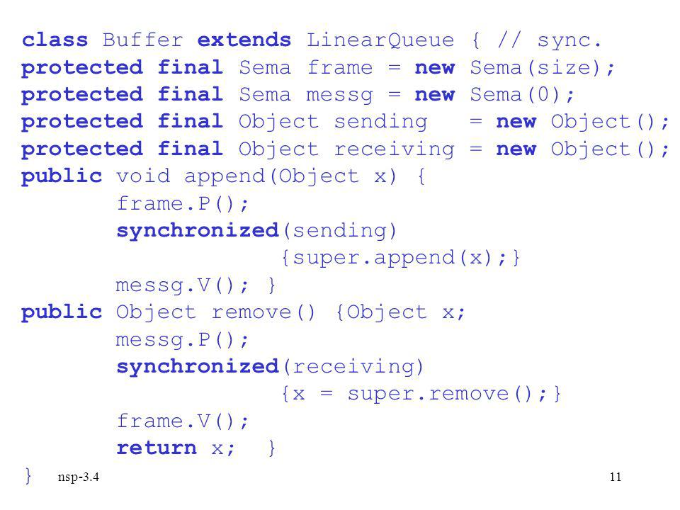 nsp-3.411 class Buffer extends LinearQueue { // sync.