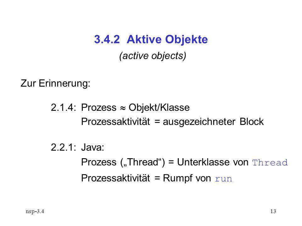 nsp-3.413 3.4.2 Aktive Objekte (active objects) Zur Erinnerung: 2.1.4:Prozess Objekt/Klasse Prozessaktivität = ausgezeichneter Block 2.2.1:Java: Prozess (Thread) = Unterklasse von Thread Prozessaktivität = Rumpf von run