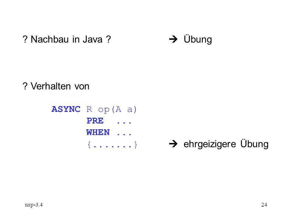 nsp-3.424 . Nachbau in Java . Übung . Verhalten von ASYNC R op(A a) PRE...