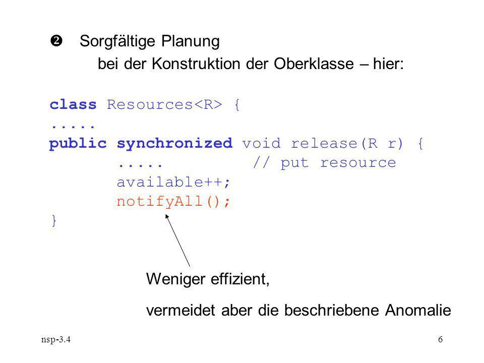 nsp-3.46 Sorgfältige Planung bei der Konstruktion der Oberklasse – hier: class Resources {.....