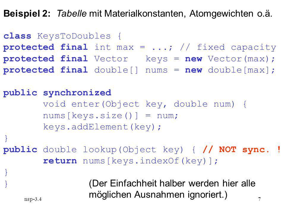 nsp-3.47 Beispiel 2: Tabelle mit Materialkonstanten, Atomgewichten o.ä.
