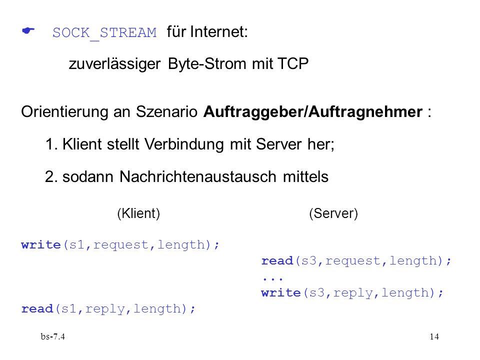 bs-7.414 SOCK_STREAM für Internet: zuverlässiger Byte-Strom mit TCP Orientierung an Szenario Auftraggeber/Auftragnehmer : 1.