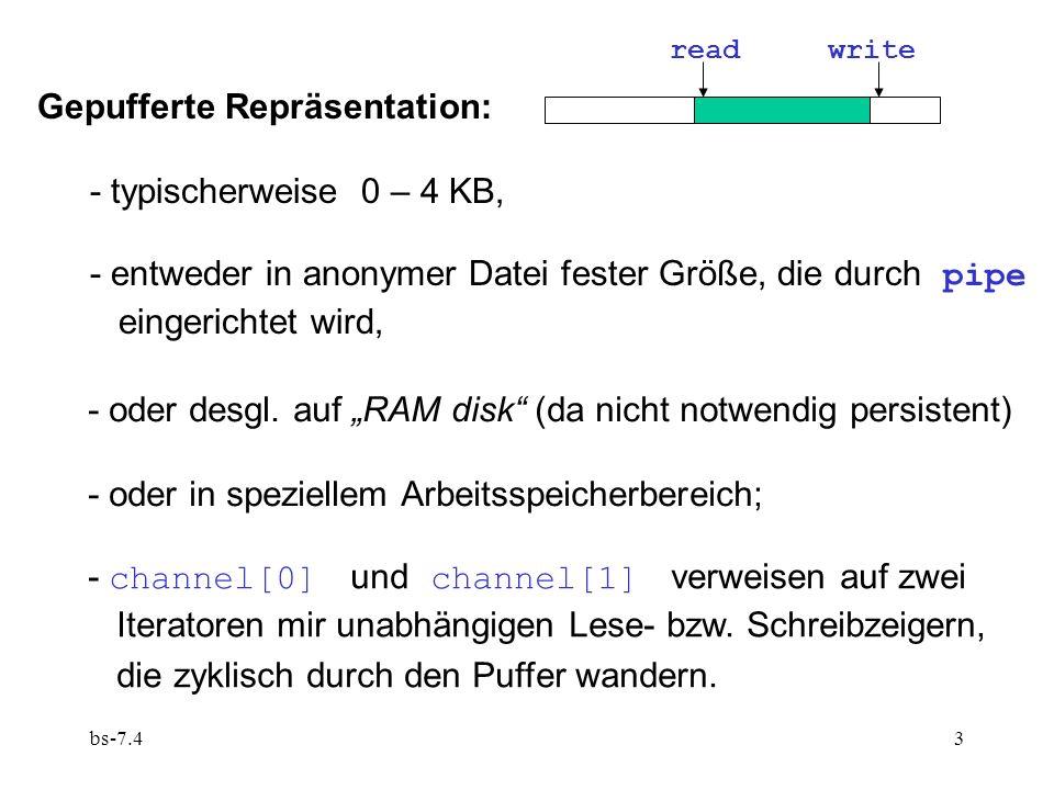 bs-7.43 Gepufferte Repräsentation: - typischerweise 0 – 4 KB, - entweder in anonymer Datei fester Größe, die durch pipe eingerichtet wird, - oder desgl.