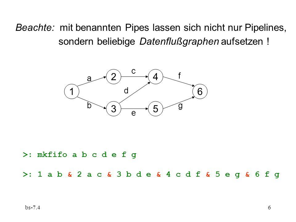 bs-7.46 Beachte: mit benannten Pipes lassen sich nicht nur Pipelines, sondern beliebige Datenflußgraphen aufsetzen .